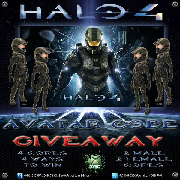 Halo 4 Master Chief Armor 4 Code Giveaway Www Xboxavatargear Com