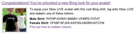 FREE BING XBOX AVATAR T-SHIRT CODE | www XBOXAvatarGEAR com